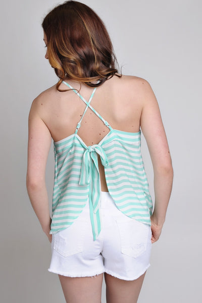 Mint Striped Crisscross Open Back Top