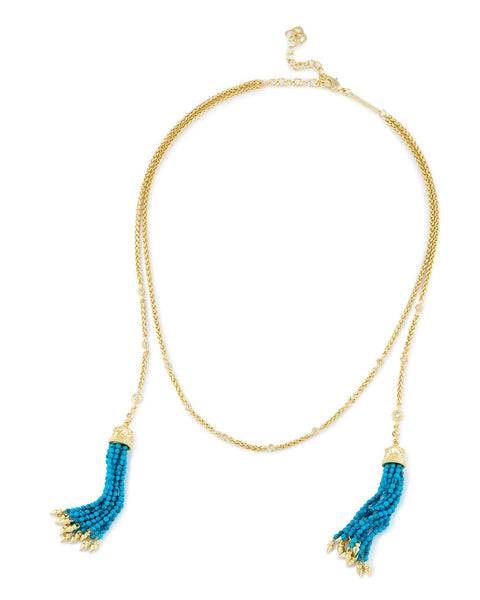 Kendra Scott Monique Lariat Necklace In Bronze Veined Turquoise