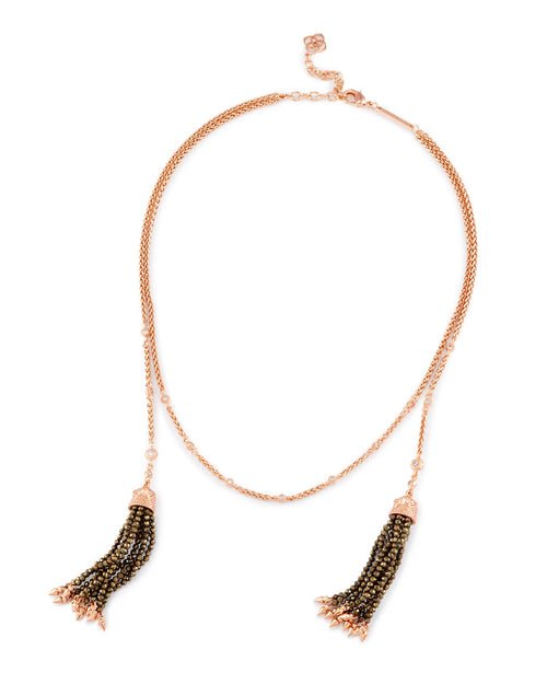 Kendra Scott Monique Lariat Necklace In Brown Pearl