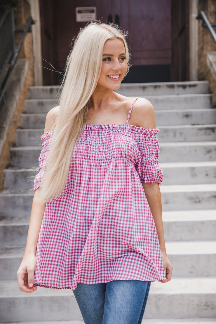 Treat You Better Rose Plaid Top