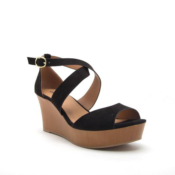 Cake Black Strappy Wedge Sandal