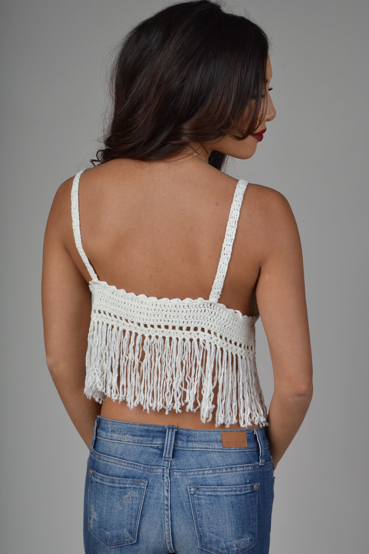 Ivory Crochet Fringed Crop
