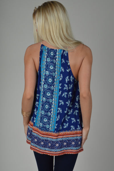 Royal Blue Border Printed Tassel Top