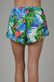 Royal Blue Hawaii Ruffle Trim Shorts