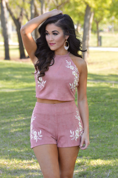 Dusty Rose Suede Floral Embroidery Crop Top
