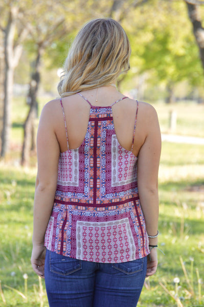 Pretty In Patterns Burgundy Tank Top