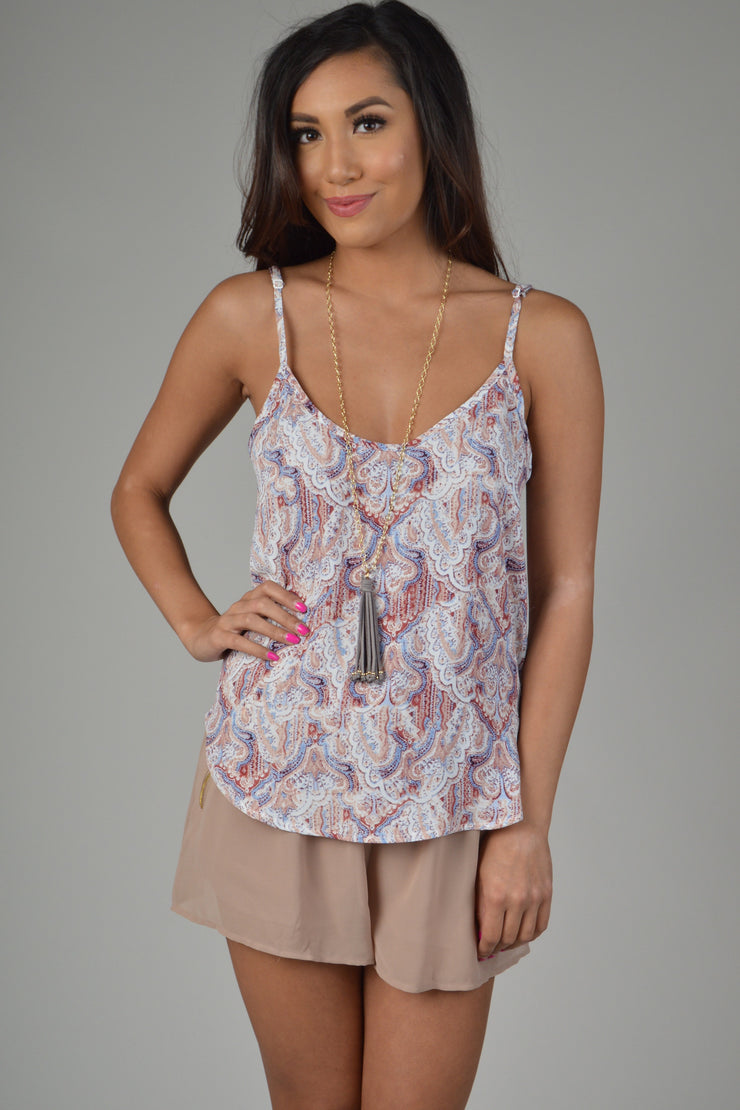 Blush Printed V Back Loose Fit Tank