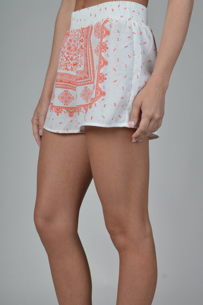 White & Red Printed Elastic Waistband Shorts