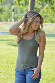 Olive Thick Strap Cami