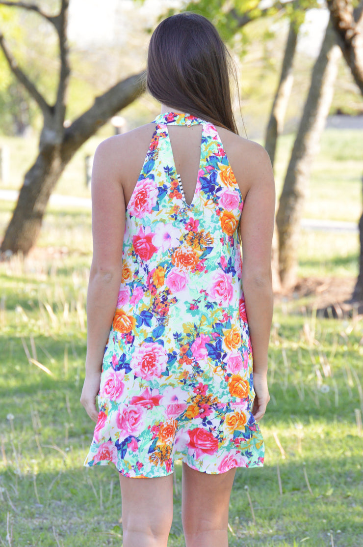 Spring Obsessed Sleeveless Floral Print Dress