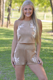 Taupe Suede Floral Embroidery Shorts