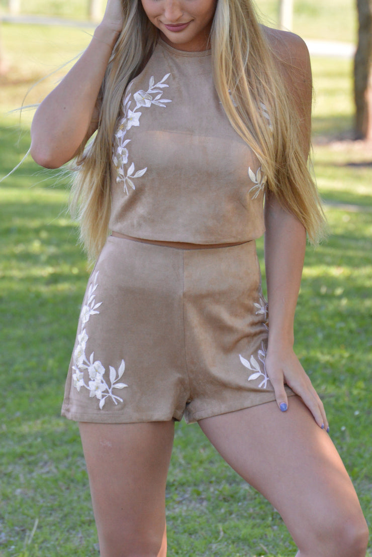 Taupe Suede Floral Embroidery Crop Top