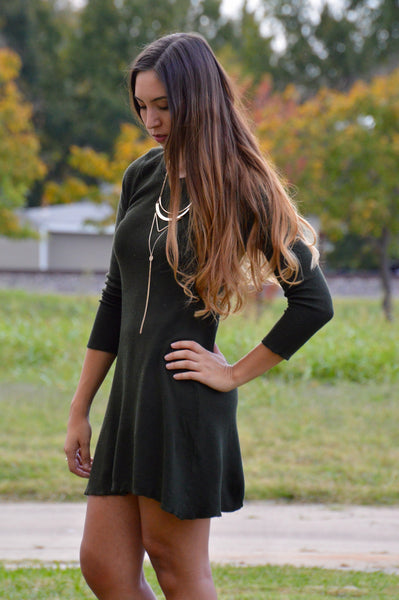 Dark Olive Sweater Dress