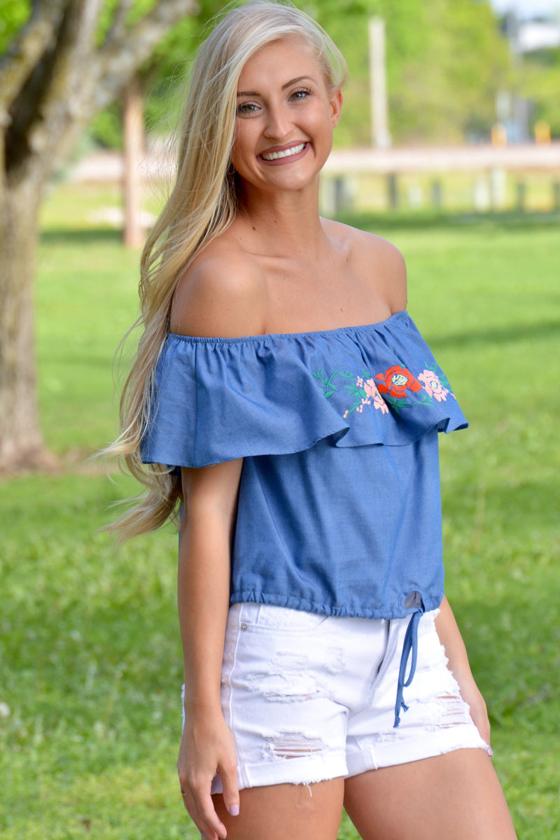 On The Lookout Off Shoulder Denim Top