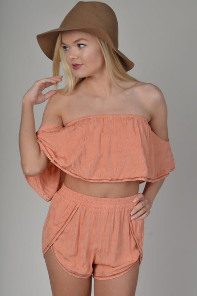 Rust Off The Shoulder Crop Top