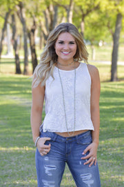 White Tank Top With Ivory Lace Overlay