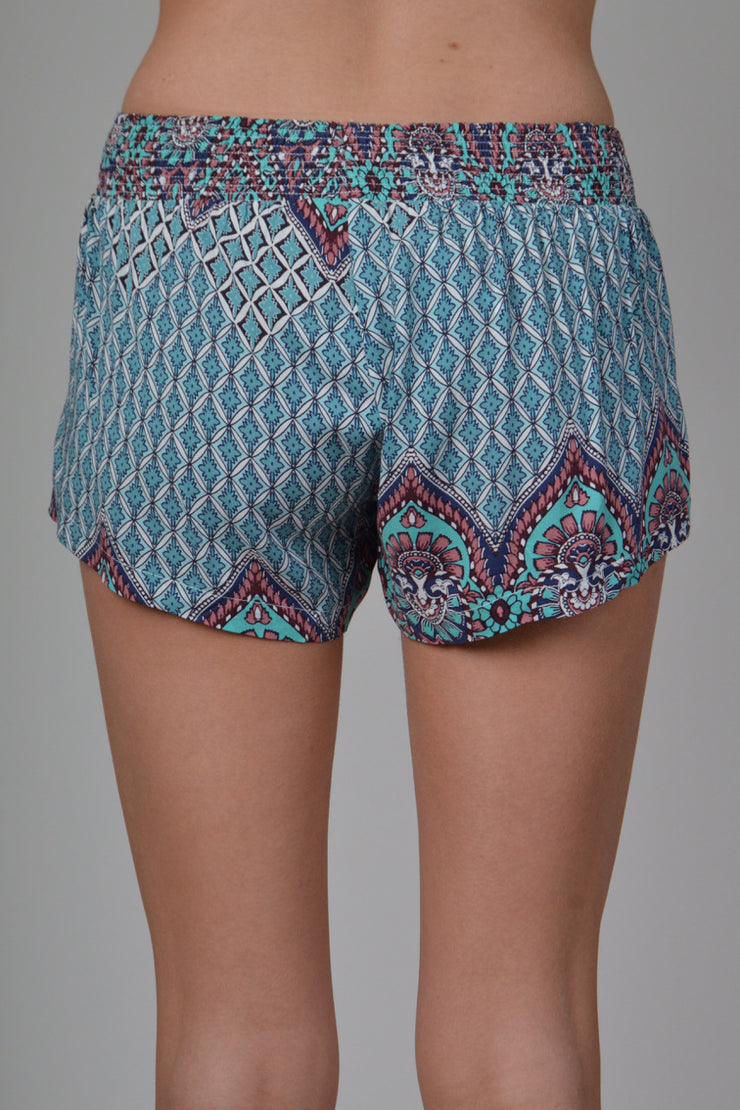 Teal & Mauve Printed Shorts