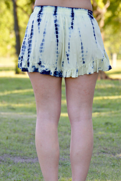 Pale Yellow & Charcoal Tie Dye Shorts