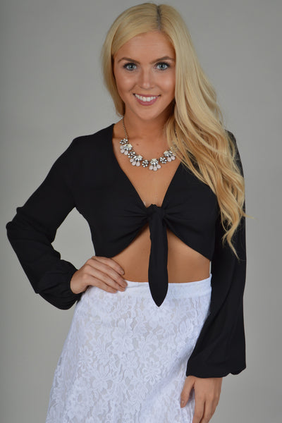 Show Me Your Mumu - Nat Tie Lie Top - Black Crisp