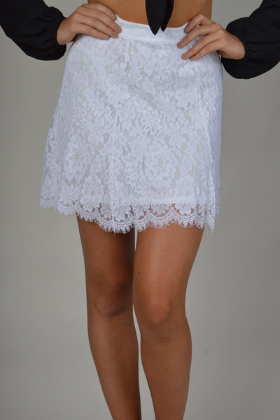 Show Me Your Mumu-Skater Mini Skirt-Spring Fling Lace White