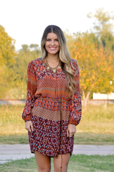 Brown & Orange Long Sleeve Boho Print Dress