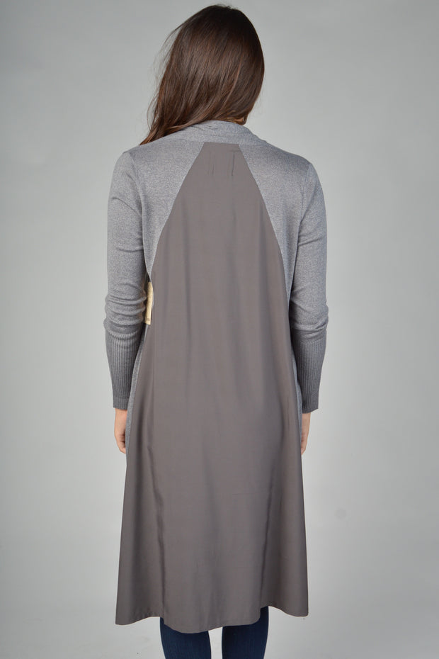 Grey Cardigan With Chiffon Contrast On The Back