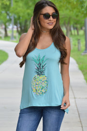 Down Under Teal Pineapple Tank Top