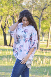 V-Neck Oversized Mauve Floral Top