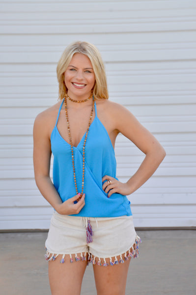 Owen Turquoise Strapless Top