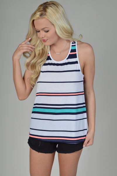 White Sleeveless Razorback Striped Top