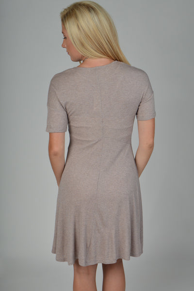 Taupe Short Sleeve Swing Dress