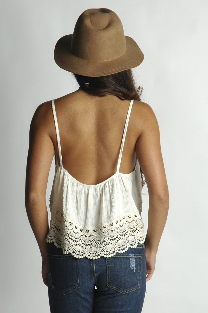 Cream Crochet Lace Rouched Crop Top