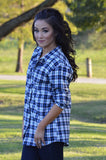 White & Navy Plaid Button Down Flannel