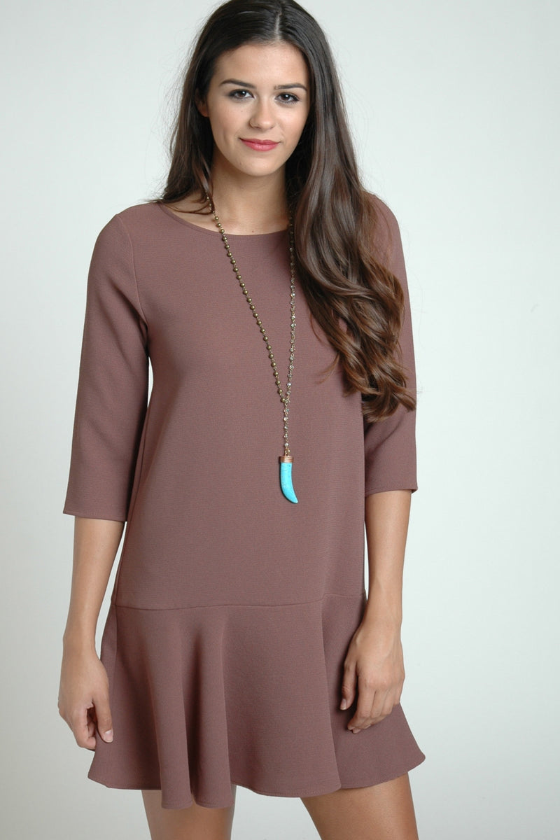 Taupe 3/4 Sleeve Drop Waist Dress
