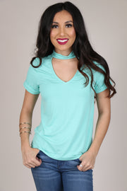 If You Wait Seafoam Mock Neck Top