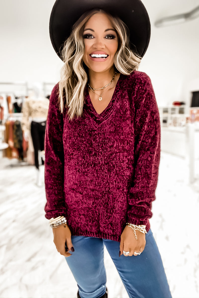 Ready To Wine Down Chenille Sweater