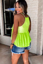 Come Together Neon Lime Sleeveless Babydoll Top
