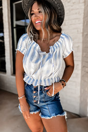 The Sweetest Hour Light Blue Striped Off The Shoulder Crop Top