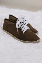 Mermosa Khaki Lace Up Sneaker Skimmer Flats