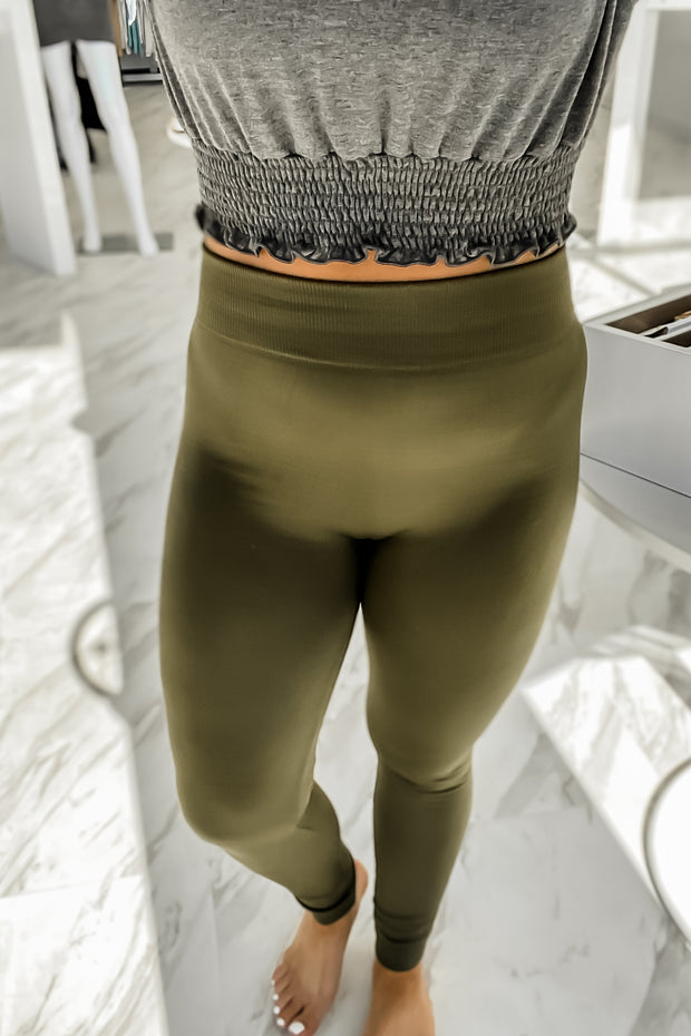 Olive Fleece Lined Leggings