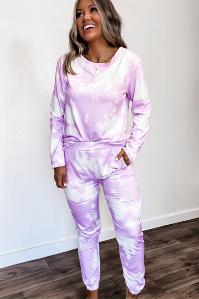 Breathe Deeper Purple Tie Dye Comfy Lounge Pants