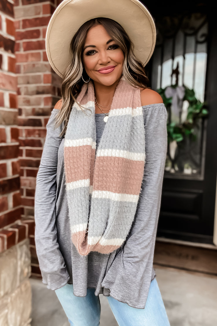 Double Vision Pink & Gray Infinity Scarf