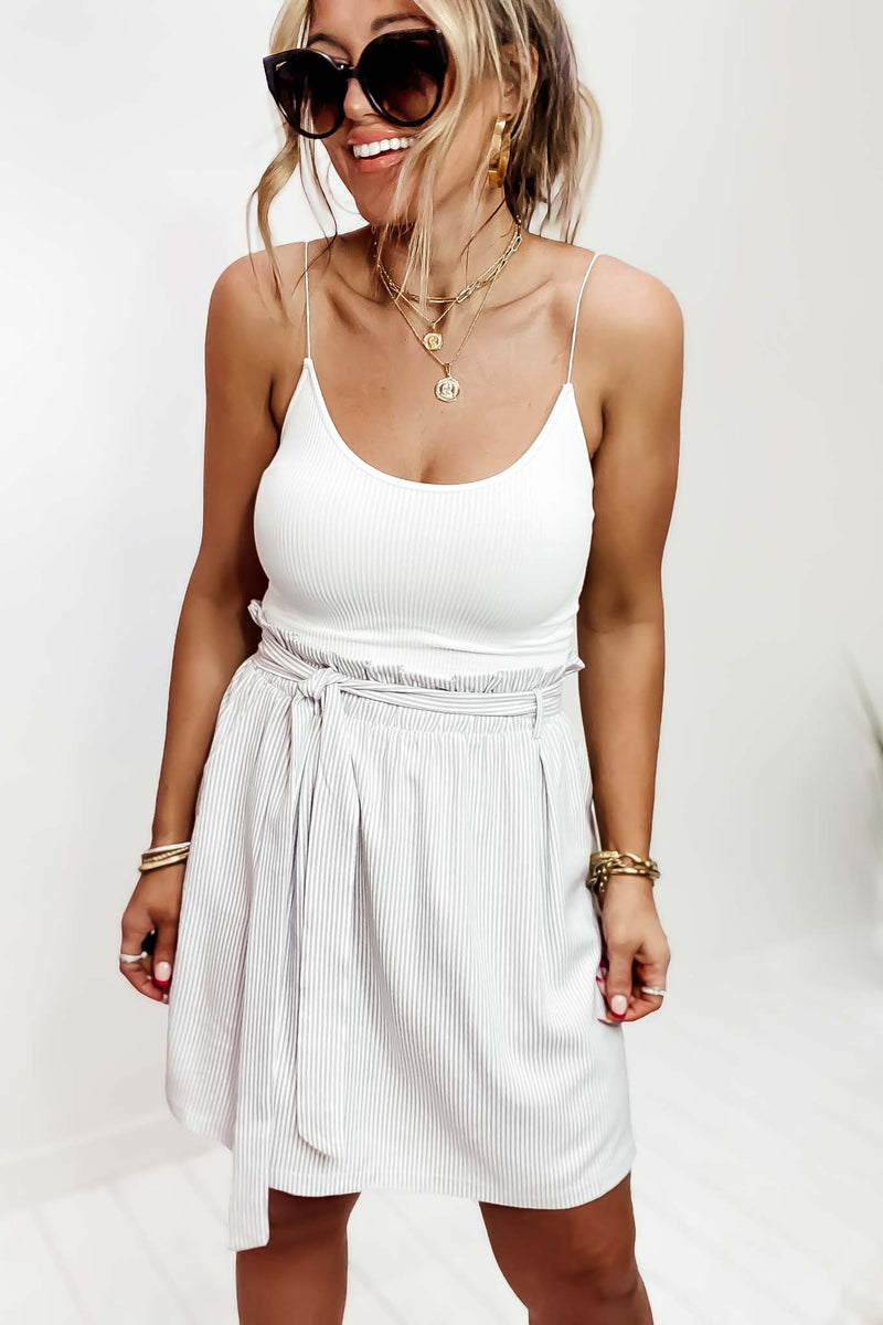 Here Once Again White Crop Tank Top