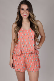 Fool For You Coral Cactus Print Tank Top