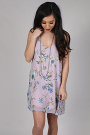 Haven Light Purple Flower Print Dress