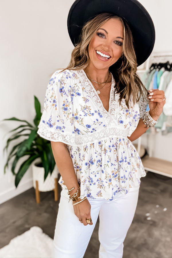 Fairest Of Them All Off White Floral Print Top