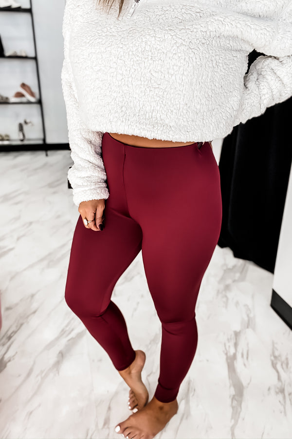 Filled With Cheer Burgundy Waist Elastic Band Solid Leggings