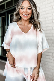 Instant Romance Blush And Grey Ombre Top