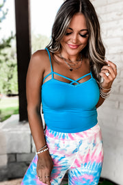 Turquoise Spaghetti Strap Crop Top With Cutout Detail