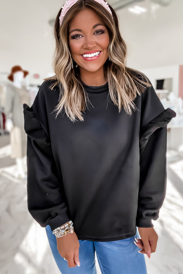Misunderstood Black Ruffle Sleeve Crew Neck Sweatshirt